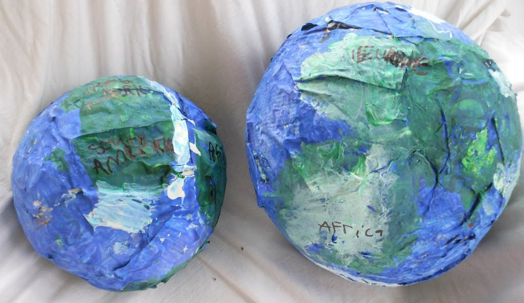 Learn about the Earth, Paper Mache Craft, continent study, hands on learning, geography, culture, Earth day, Science, Sensory, Art,