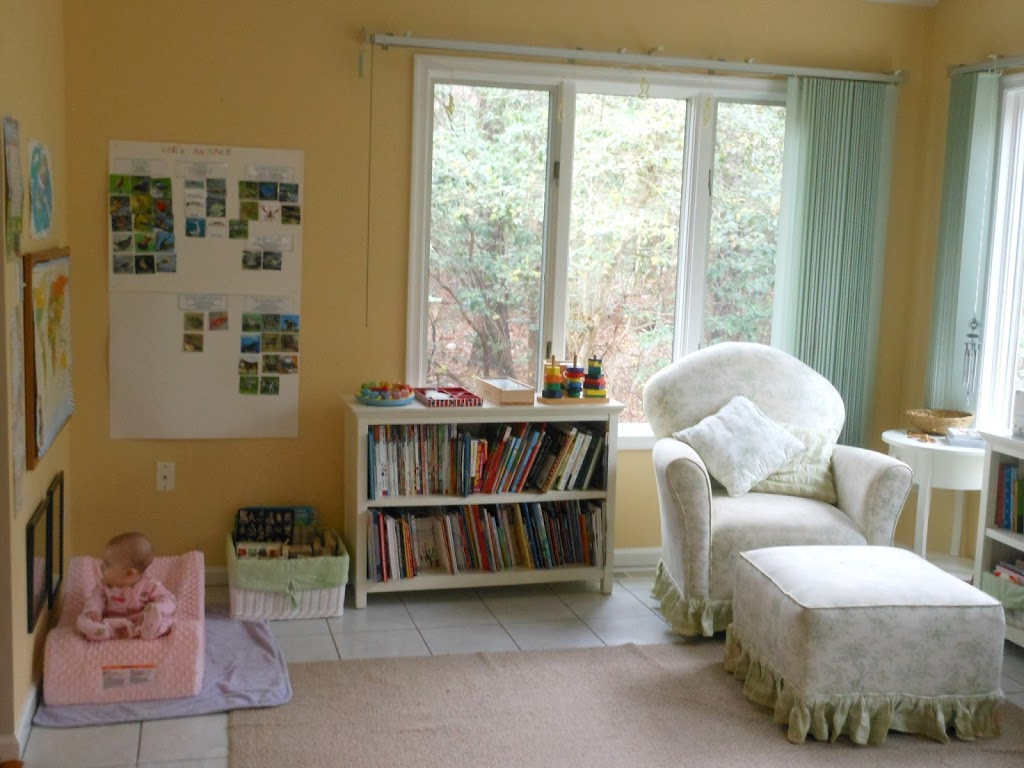 Homeschool room, organization, school, preschool, baby room, play room, reading area, toodler, Montessori, nature table, www.naturalbeachliving.com
