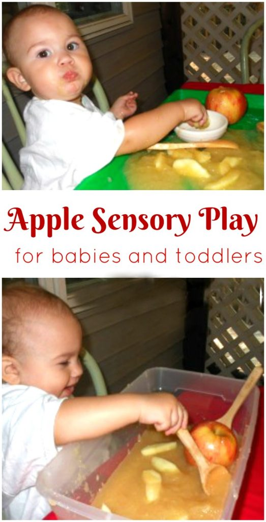 Apple Sensory Play for Toddlers, Apple Sensory Play for babies, Apples, Sensory bins for babies, Edible sensory play, Apple theme for toddlers, Fall Ideas