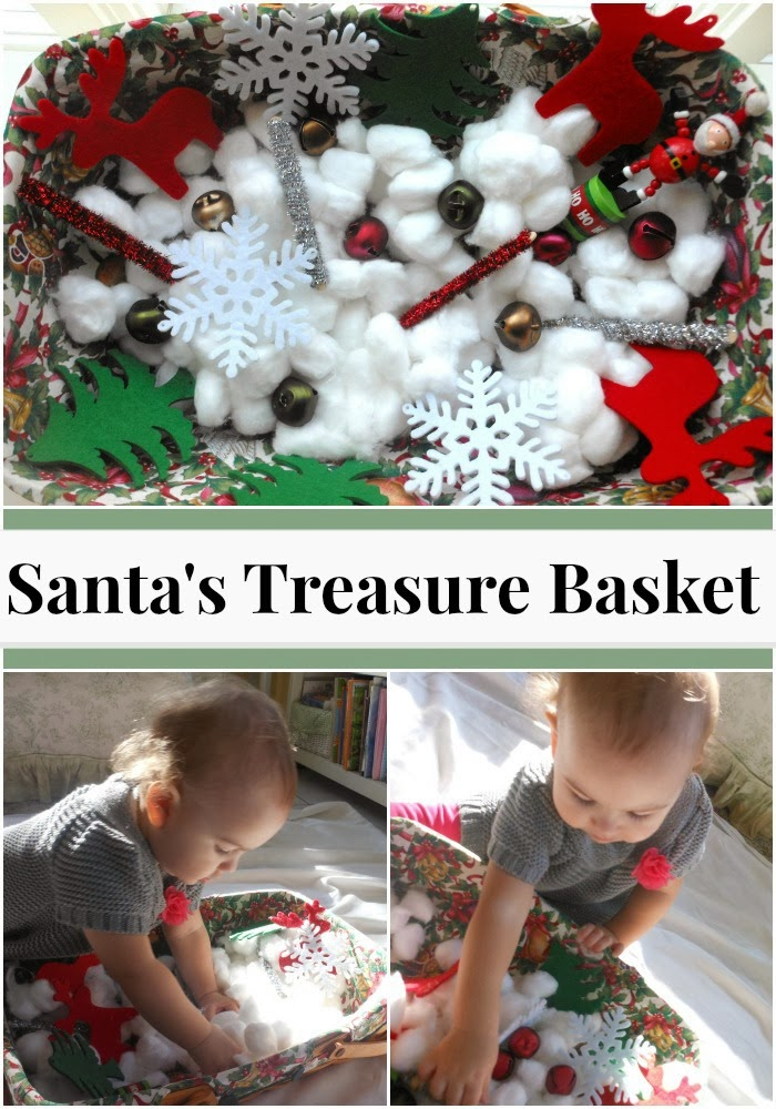 EASY SANTA Sensory Bin, Christmas TREASURE BASKET FOR TODDLERS, Christmas Sensory play for babies and toddlers, Holiday sensory bin, Santa activity for toddlers