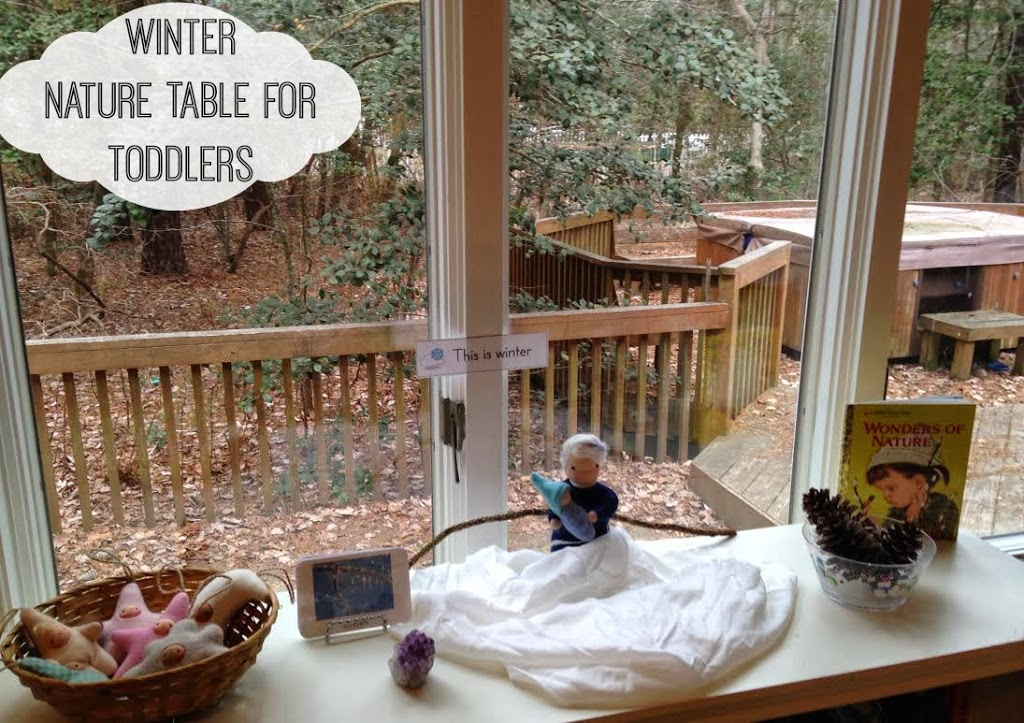 Waldorf Inspired Winter Nature Table for toddlers, hands on learning, sensory and nature