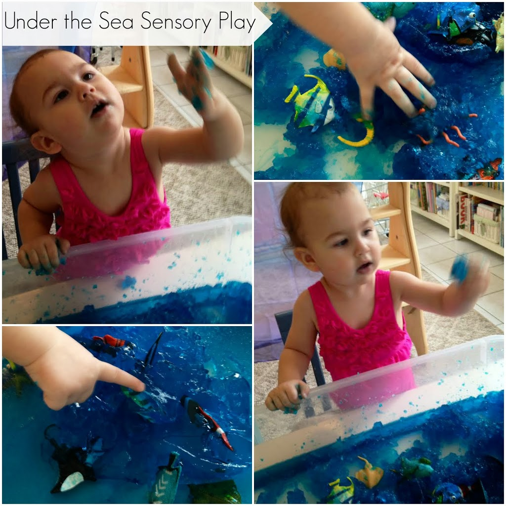 Jello Sensory play, under the sea play, homemade fun, www.naturalbeachliving.com