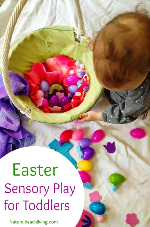 Easy Easter sensory play basket for toddlers, Easy set up, Sensory play, Easter activity, Spring activity for toddlers www.naturalbeachliving.com