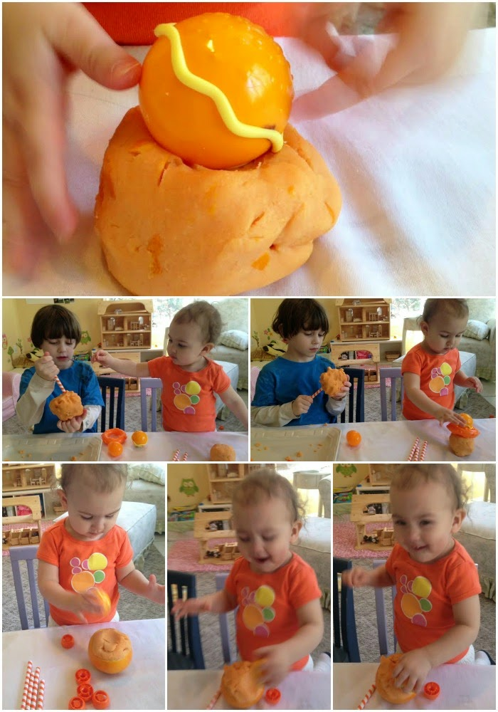 Orange scented natural play dough, homemade, all natural, sensory play Montessori inspired, www.naturalbeachliving.com