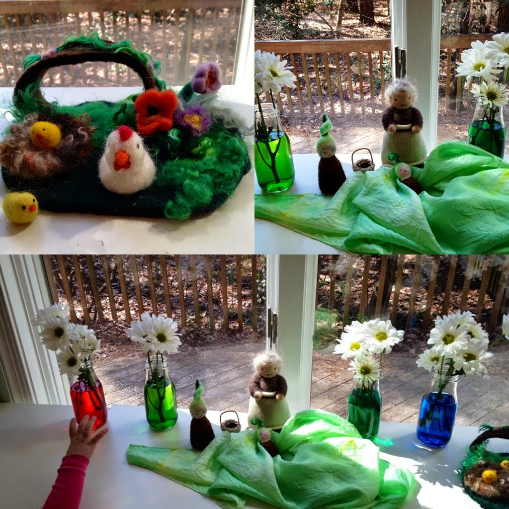 Waldorf inspired Spring Nature Table, Montessori, Science, Rainbow , Handmade, Books, Flowers, www.naturalbeachliving.com