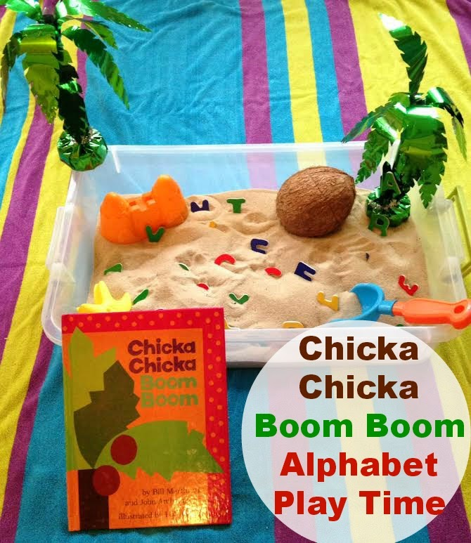 chicka chicka boom boom alphabet sensory play, 100 of the Best Ways to Teach the Alphabet, Creative ways to teach the alphabet, Hands on Learning, Sensory Play, Printables, Alphabet Games,Alphabet Crafts