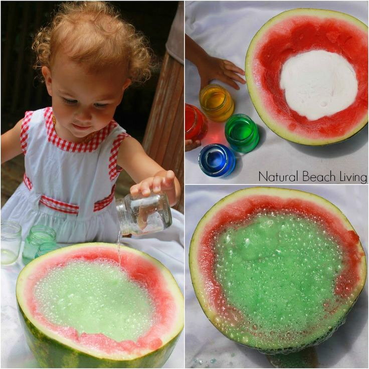 Watermelon fizzy sensory science, perfect summer fun, Easy, a couple household ingredients, kids activities that rock! Sensory Play at Natural Beach Living