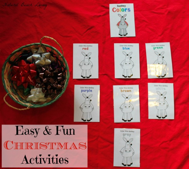 christmas Christmas activities for toddlers and preschoolers, color matching, animal matching, fine motor skills, shapes, alphabet, math and more www.naturalbeachliving.com