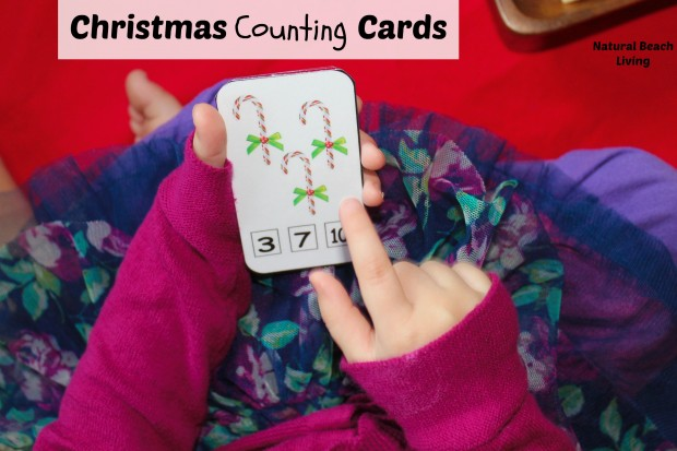 counting cards Christmas activities for toddlers and preschoolers, color matching, animal matching, fine motor skills, shapes, alphabet, math and more www.naturalbeachliving.com