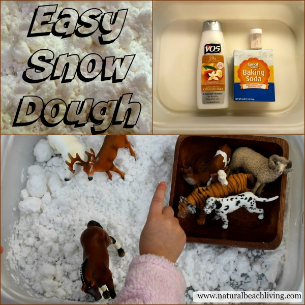 Homemade Snow Dough, A Snowy Day, Book Activities, Animal Track activities, FIAR, BFIAR, Toddler, Preschool, Sensory Play, Snow Dough, winter activities