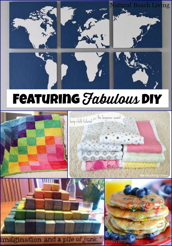 fabulous DIY, Easy sewing projects for beginners, eco friendly diy blocks, blankets, geography, homemade pancakes and more www.naturalbeachliving.com