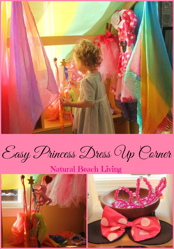 Easy Princess dress up corner, little girls dress up area, Fairytale, Princess, Kids spaces, Waldorf, Fantasy, Imaginary play, www.naturalbeachliving.com