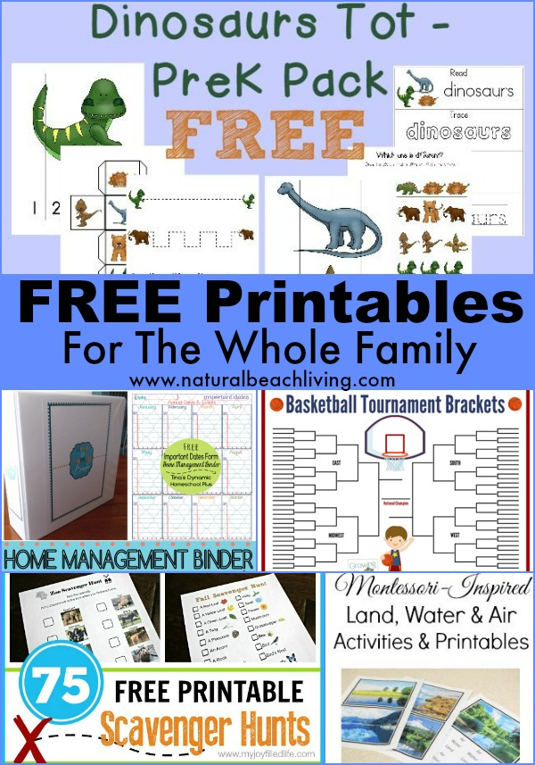 Free printables for the whole family, toddler, preschool, management binder, Mom, Montessori, scavenger hunts, kids activities www.naturalbeachliving.com