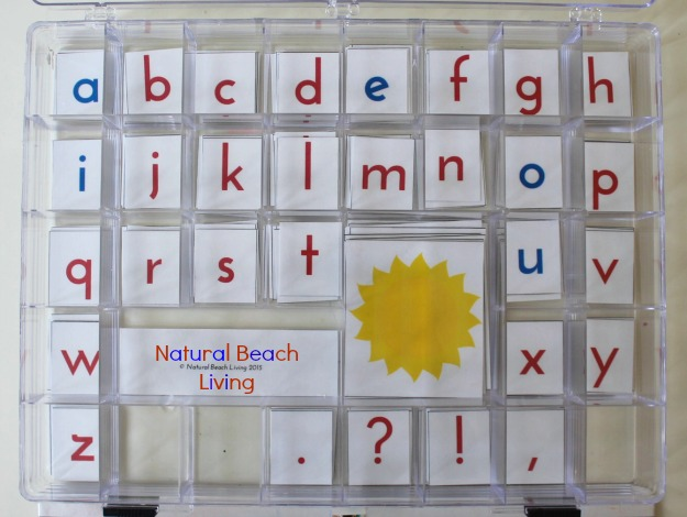 Montessori Movable Alphabet, Language Arts, Preschool, Toddler, Montessori Materials, Kids activities, Free Printables, phonics www.naturalbeachliving.com