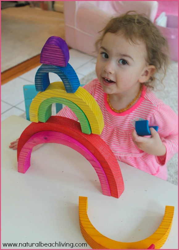 Preschool engineering with Rainbows, STEM activities, Toddlers, Building,Open ended play,project based learning,Hands on learning www.naturalbeachliving.com