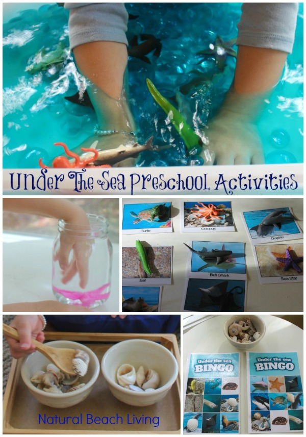 Montessori Inspired themed preschool activities, under the sea animals, practical life, sensory play, Alphabet craft, Best Under The Sea Preschool Activities