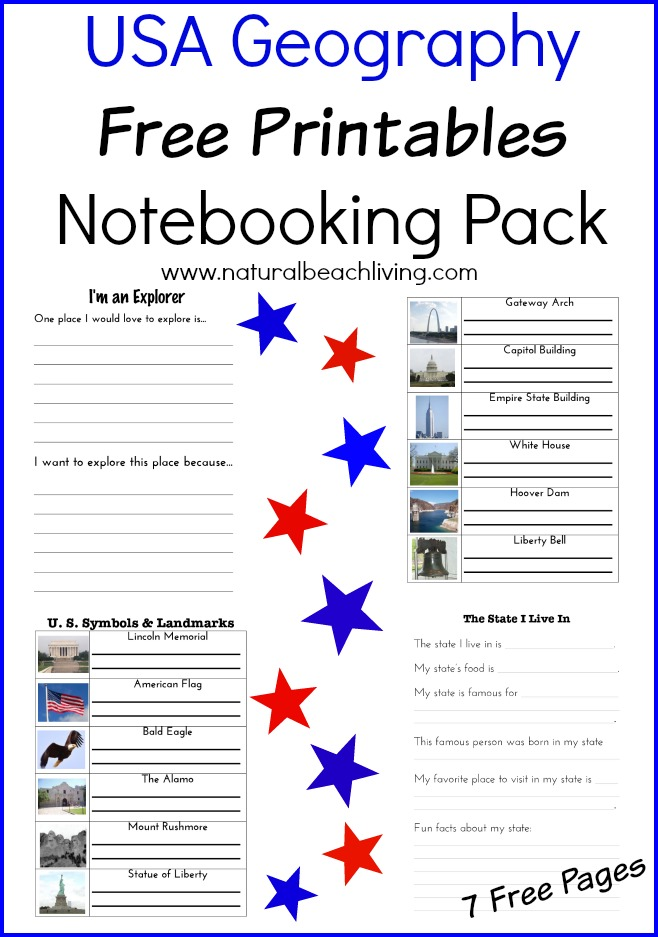 Free USA Geography Printable pack, geography ideas, activities and lessons, Elementary, State learning, US landmarks, www.naturalbeachliving.com