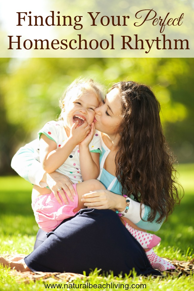 Our daily homeschool schedule, routine, or rhythm for kids of all ages. Since homeschool and family life goes together this has some great ideas, resources, and homeschool learning spaces