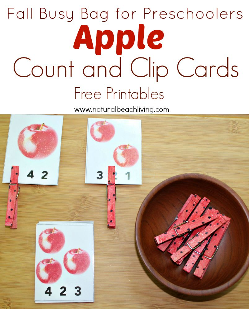 Fall Apple Counting Busy Bag for Preschoolers – Apple Activities with Free Printables