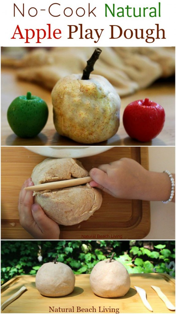 The Best Natural Playdough, Apple Scented playdough, No-cook play dough