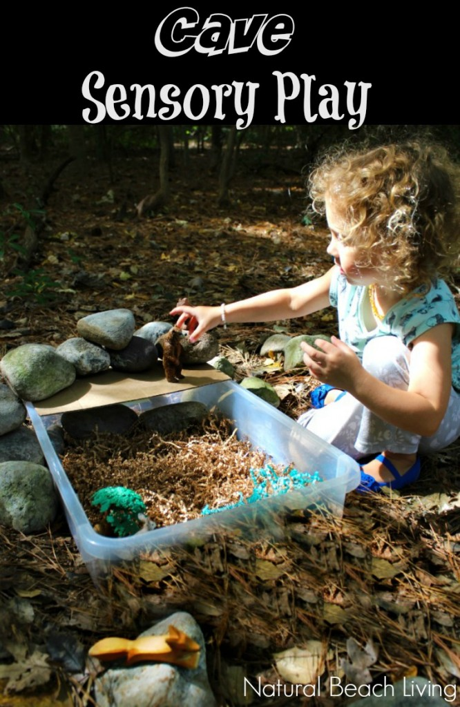 Cool Cave Sensory Play. This is such a great idea for a sensory bin and Forest activity for kids. Animal habitat activities, cave sensory bin, Bears preschool theme activities, Forest Animals Sensory Bin