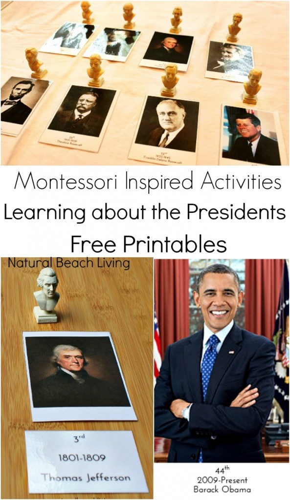 Learning about the Presidents with Great Books, hands on learning and Montessori Inspired Activities. Filled with Free Printables and great information to teach your kids all about the presidents.