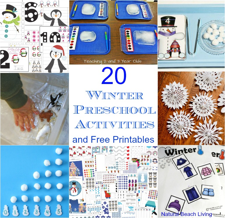 20+ Winter Preschool activities, and printables. Perfect for weekly or monthly themed learning or unit studies. Preschool book lists, preschool activities, art, and crafts. Winter preschool themes include literacy, math, STEM ideas and more. #preschool
