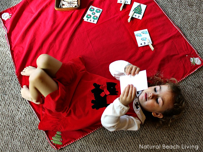 Wonderful Montessori Inspired Christmas Activities for Preschoolers and Toddlers with A Great FREE Printable Pack, Matching Shapes, Colors, Fine Motor Skills, Counting Clip Cards and more