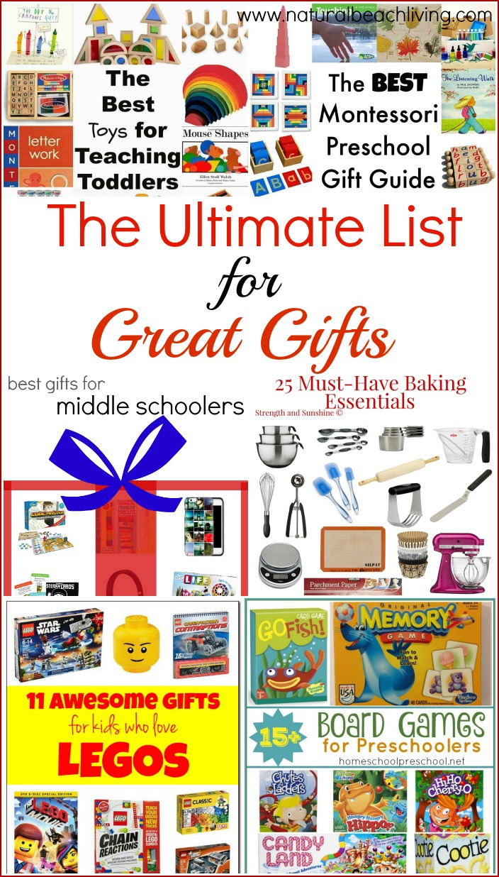 A Great list of amazing Gifts for all ages, Toddlers, Preschool, Pre-teens, Family Fun, Star Wars and Lego fans, plus so much more.