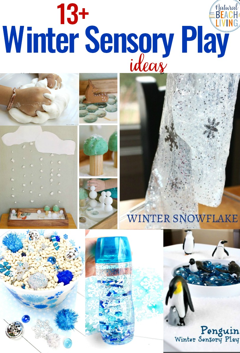 Winter Sensory Play Ideas, Winter Sensory Bin, Homemade Snow Dough, Snow Slime Recipe, Homemade Slimes, Small world play, Arctic Sensory Play, Penguins sensory bin, Sensory Bottles and more
