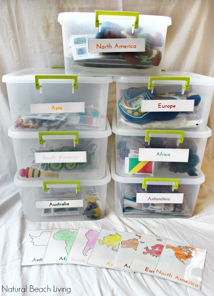 How to Teach Geography with Continent Boxes, DIY Montessori Continent Boxes, A multi-sensory approach to learning with kids, Montessori Geography