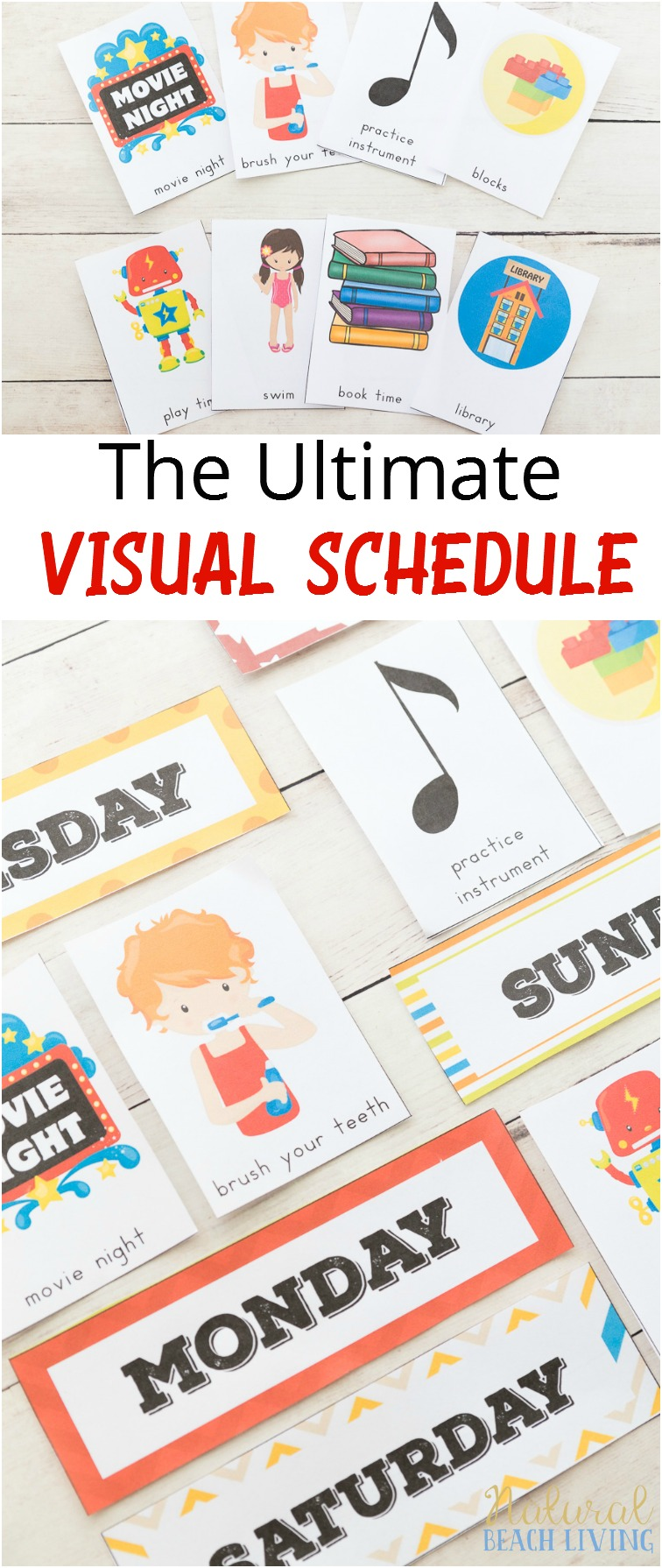 Daily Visual Schedule for keeping kids on task, Visual Schedule, Special Needs, Autism, Visual Schedule Printable for home & school, Free Printable Picture Schedule Cards, Visual Schedule Printable, #Autism #Visualschedule #specialneeds