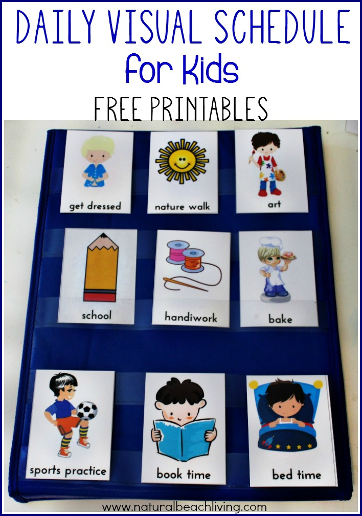 image regarding Free Printable Visual Schedule for Preschool titled Every day Visible Timetable for Children Totally free Printable - Organic and natural