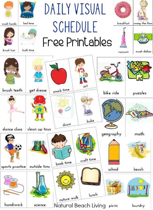 photo relating to Children's Routine Charts Free Printable named Day by day Visible Plan for Little ones No cost Printable - Organic