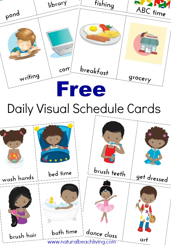 picture relating to Visual Schedule Printable called Much more Everyday Visible Routine Playing cards Absolutely free Printables - Organic and natural