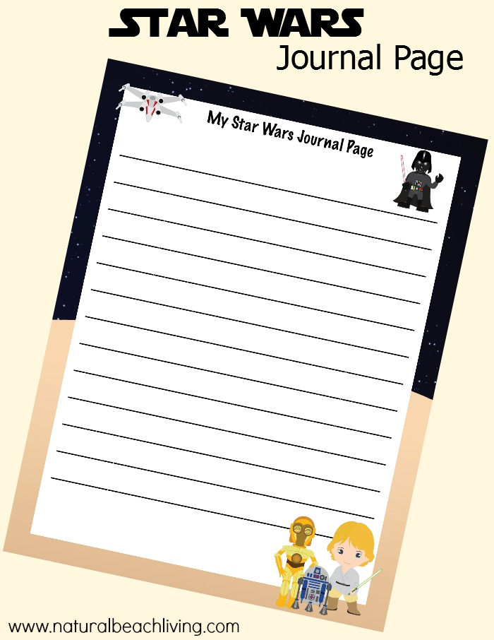 picture relating to Printable Journal Pages named Free of charge Star Wars Printables Magazine for Children - Organic Beach front