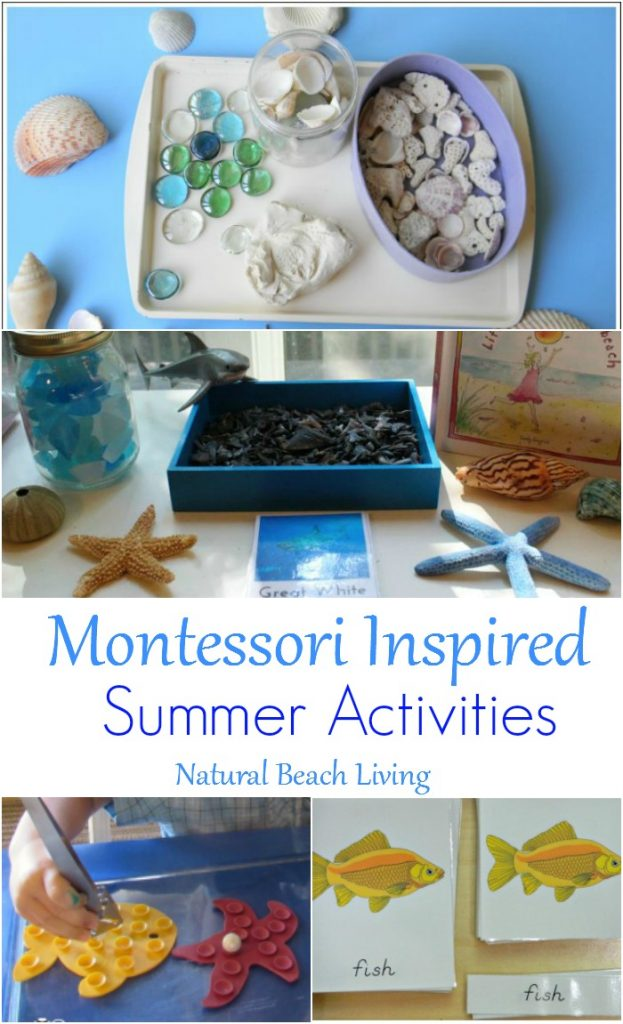 Montessori Summer Activities and Themed Learning Ideas for June, Ocean, Fish, Animals, Cooking with Kids, Fine motor skills, Science, Sensory and more.