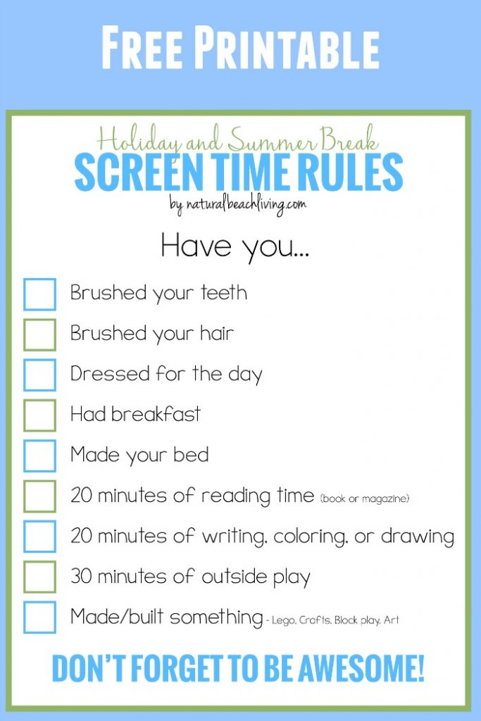 image about Screen Time Rules Printable named Holiday vacation and Summertime Crack Display Period Legal guidelines for Young children