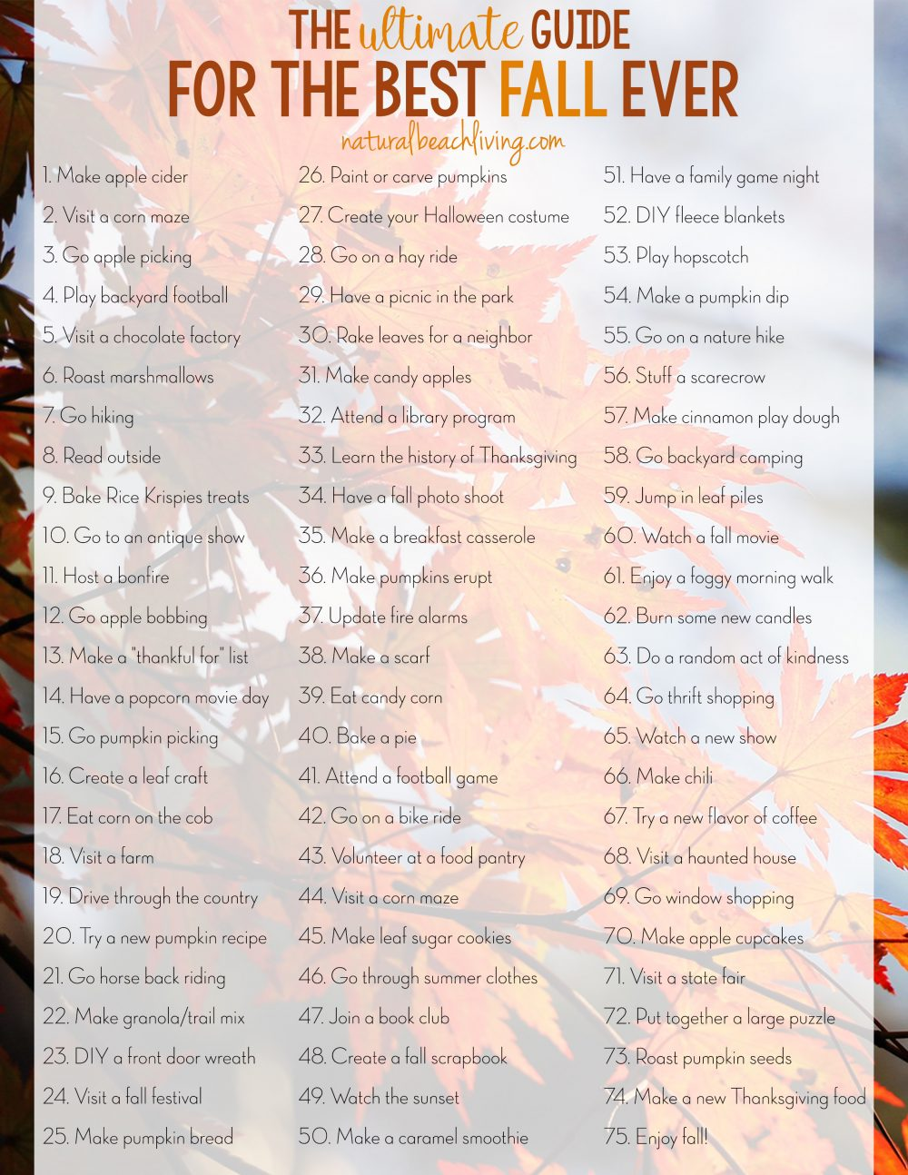 The Ultimate Guide for the Best Fall Ever – Fall Bucket List Printable