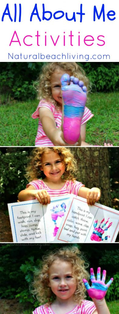 The Best All About Me Activity for Preschool and Kindergarten, All About Me Preschool Theme Activities and All About Me Kindergarten Unit, Fun All About Me Family Crafts, Preschool Free All About Me Printables, Handprints and Footprints crafts for toddlers and preschool, Great Preschool Theme