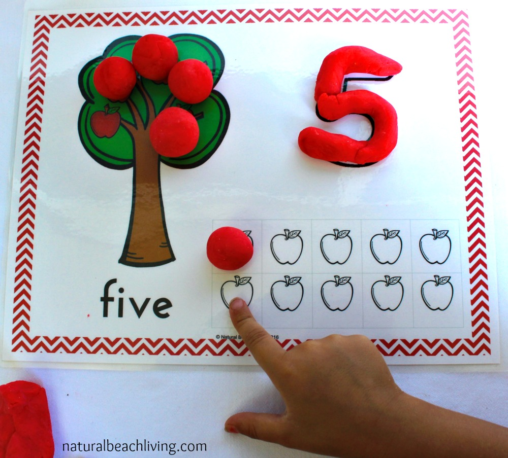 Free Apple Play Dough Mats Perfect for Fall or an Apple Activity, Free Apple Playdough Mats, Preschool, & Kindergarten Apple Activities for an Apple Theme, Apple Math and Counting for preschoolers, Plus Apple Playdough Recipe