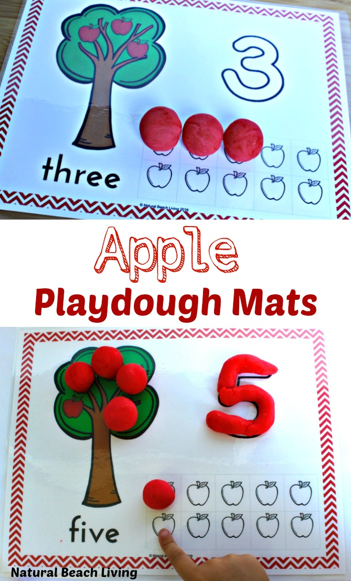 Apple Play Dough Mats Perfect for Preschoolers