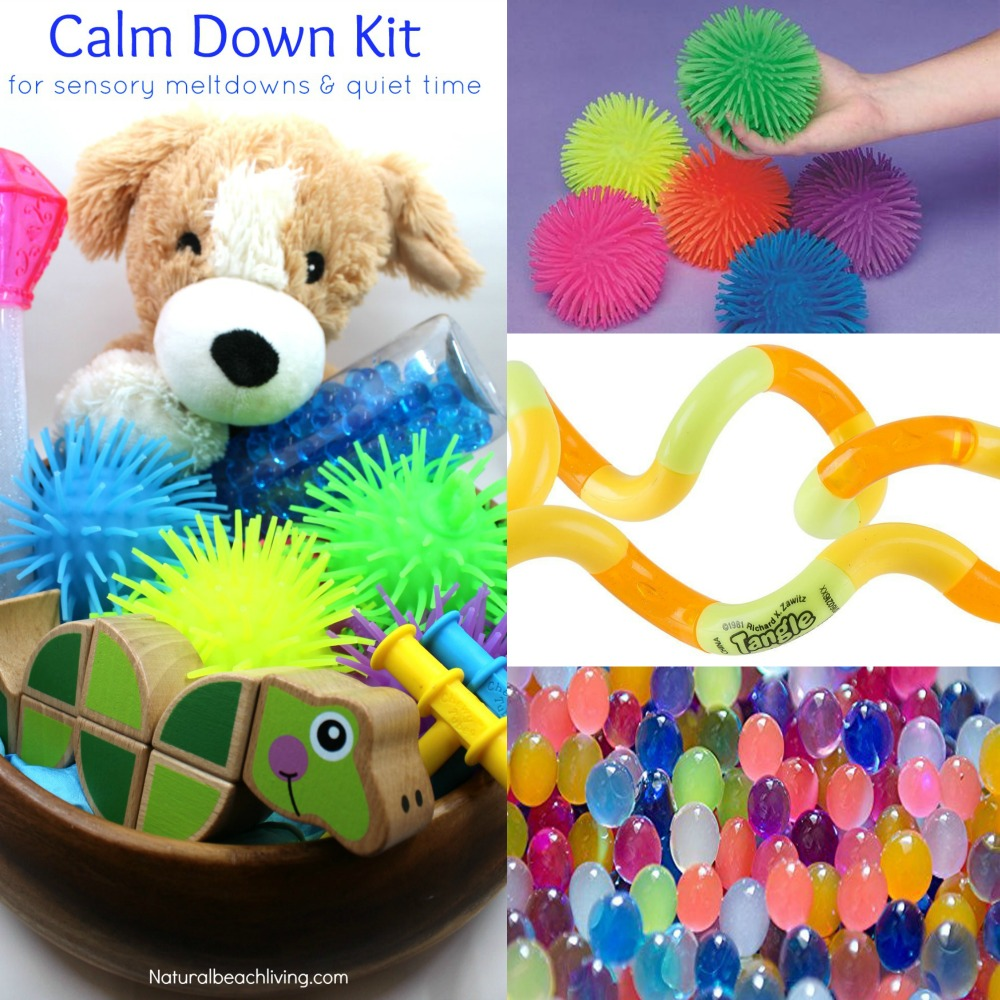 Calm down kit for sensory meltdowns and much needed quiet time, Fidget toys, Autism, Sensory Needs, SPD, Easy travel bin filled with calming toys for kids,