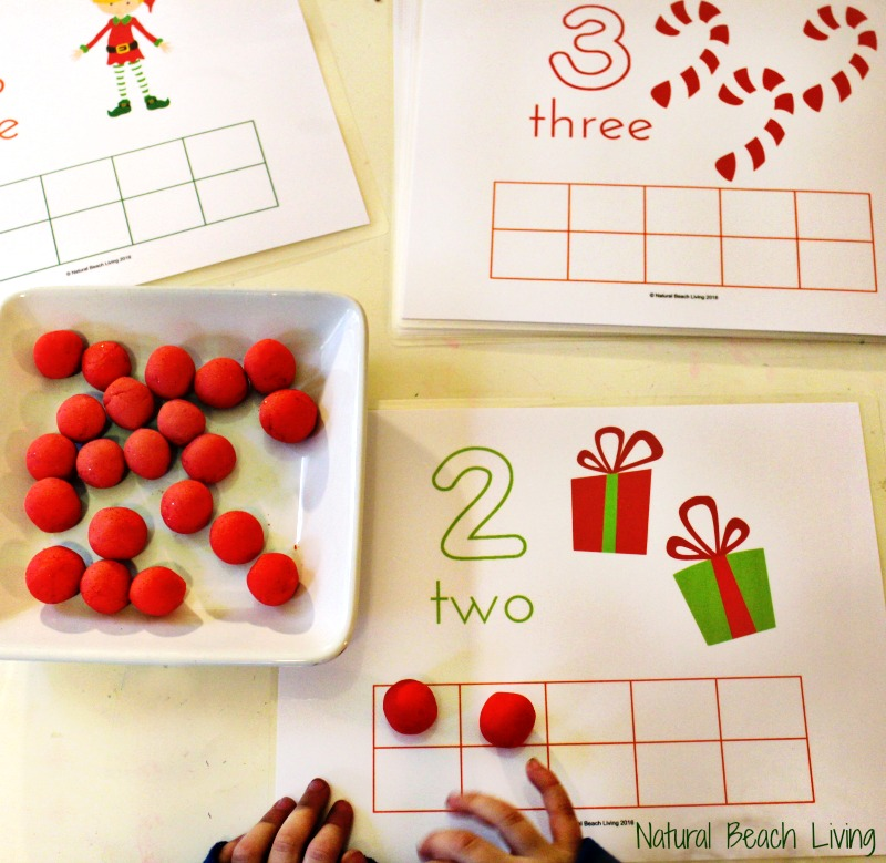 Cute Counting Christmas Play Dough Mats, Perfect Preschool Math, Fine motor skills, Fun Christmas Printables for Kids, Sensory and Hands-on Activities