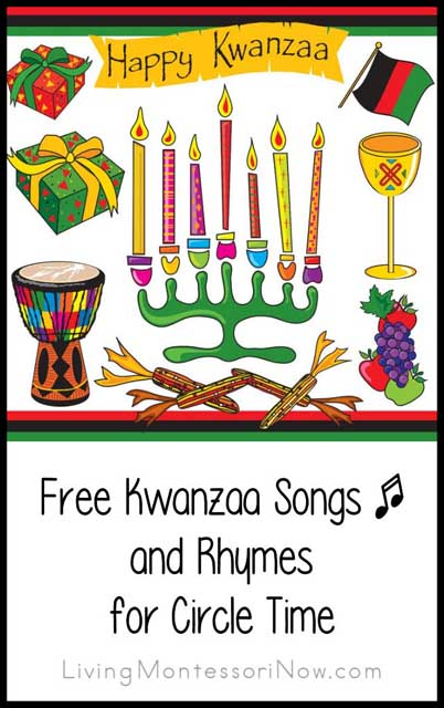 free-kwanzaa-songs-and-rhymes-for-circle-time, Montessori Holiday Activities Perfect for December, Montessori Christmas Activities, Montessori Hanukkah Ideas, Kwanzaa, Nativity, Montessori Gift Ideas & More