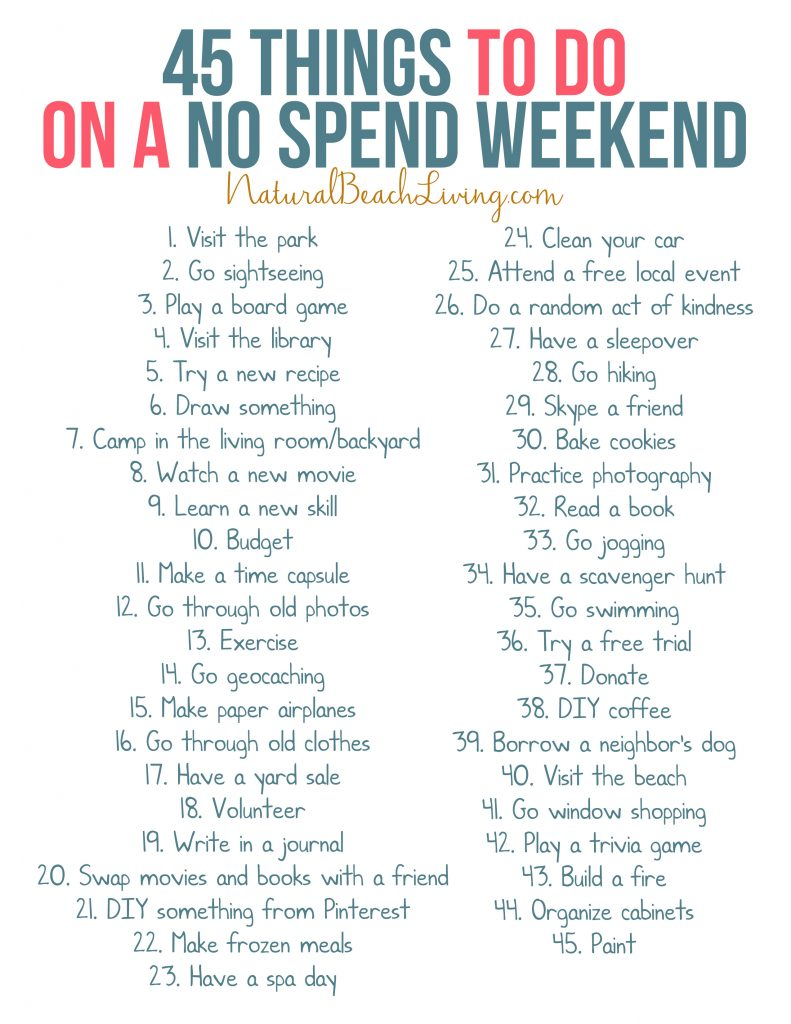 This No Spend Challenge is a super fun way to jump start your savings plan for the Year. If you're wanting to save money, try a No spend weekend ideas or this No Spend Challenge Printable with Fun things to do without spending money and No spend activities