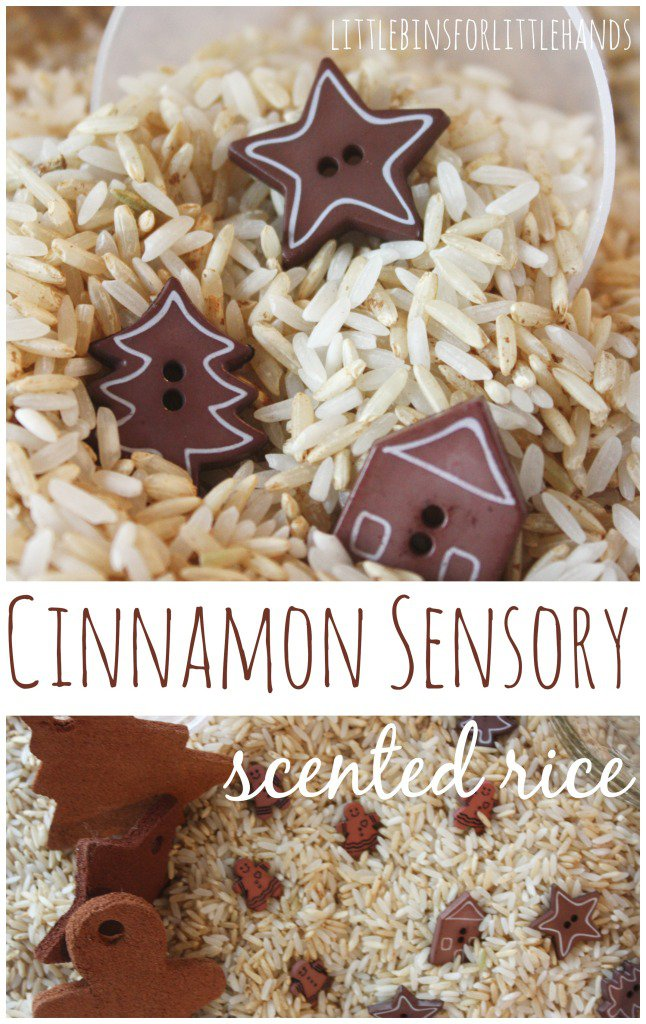 cinnamon-sensory-rice-play-20 Super Creative Sensory Activities with Cinnamon, Amazing Cinnamon Playdough, Apple Pie play dough recipe, benefits of cinnamon sensory activities & MORE