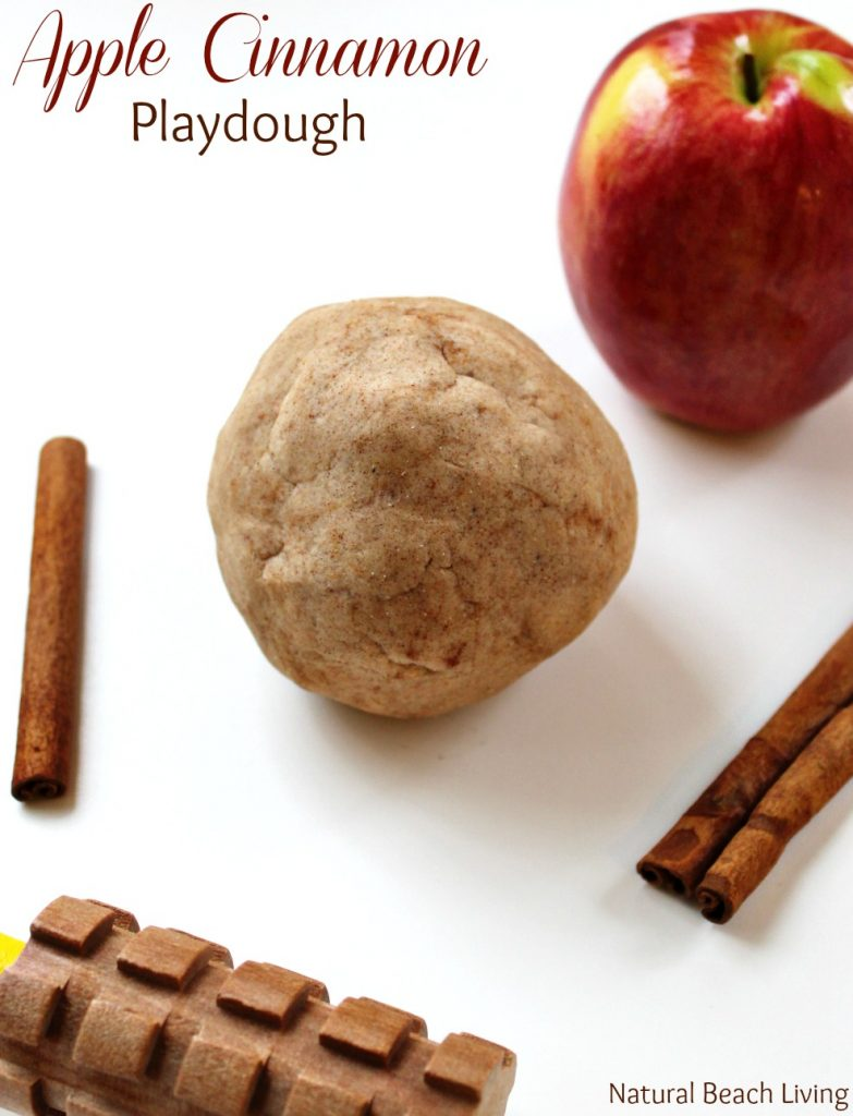 The Best No Cook Apple Cinnamon Playdough Recipe, The Most Amazing No Cook Apple Cinnamon Playdough Recipe, Sweet smelling and super soft homemade play dough, Fall playdough recipe and perfect sensory play for a preschool apple them. No Cook Apple Cinnamon Playdough recipe #playdough #sensoryplay #preschool