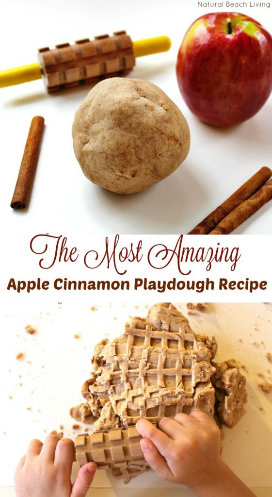 The Most Amazing No Cook Natural Apple Cinnamon Playdough Recipe, Sweet smelling, super soft homemade play dough, Fall playdough recipe, perfect sensory play, No Cook Apple Cinnamon Playdough recipe #playdough #nocookplaydough #scentedplaydough
