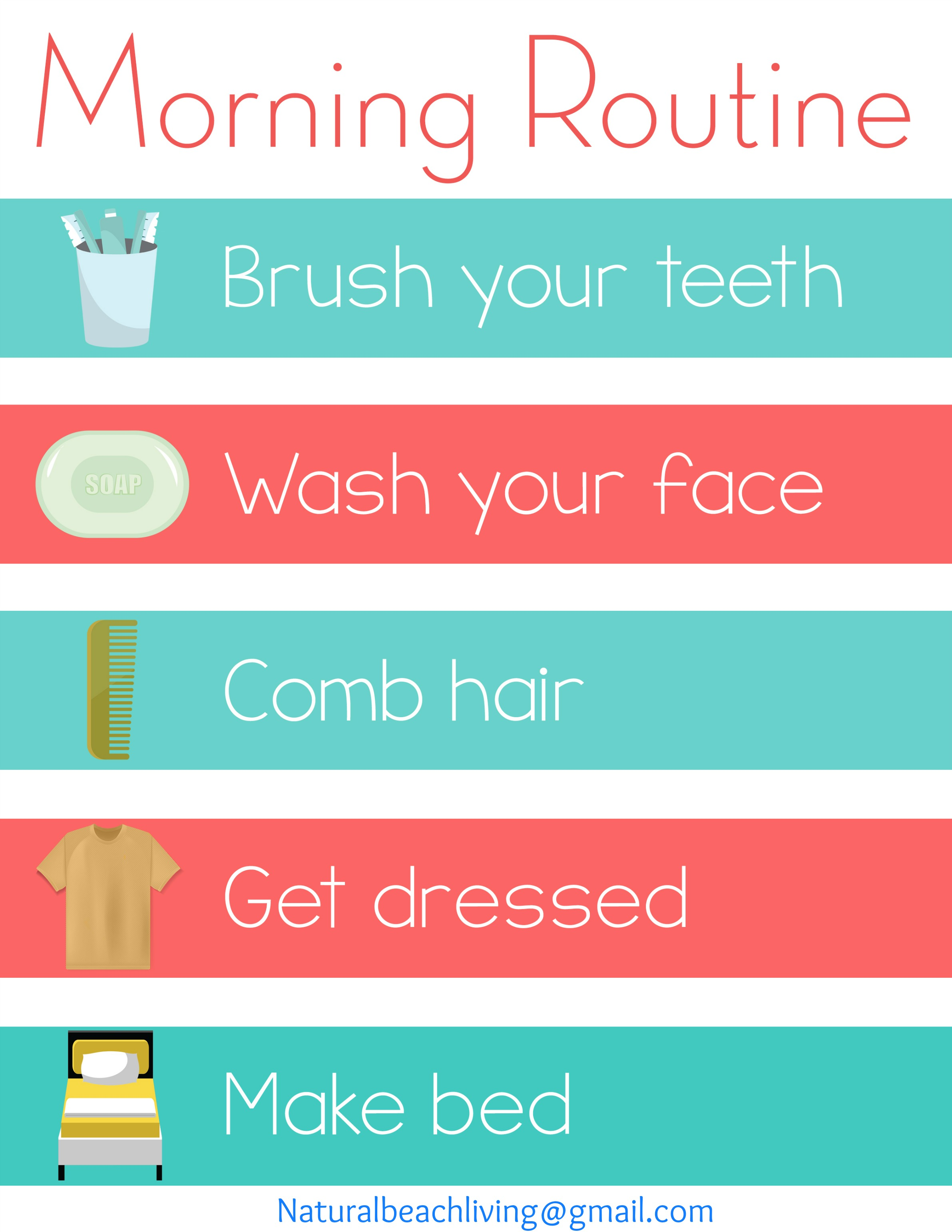 home visual schedule printables for morning and night routine